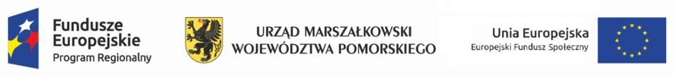 """Logotypy projektu """"Zdolni z Pomorza - Gdynia"""", z którego pierwszy to Fundusze Europejskie z kolorowymi gwiazdkami na niebieskim tle, drugi to logo Urzędu Marszałkowskiego Województwa Pomorskiego. Trzeci to Flaga Unii Europejskiej z podpisem """"Europejski Fundusz Społeczny"""""""